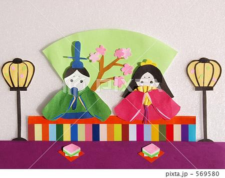 写真素材:切り紙のお雛様 : ひなまつり 折り紙 : 折り紙