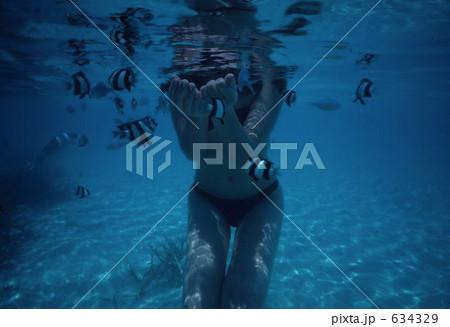 水中で餌付けする女性 634329  水中で餌付けする女性  サムネイル表示に戻す 画質を確認