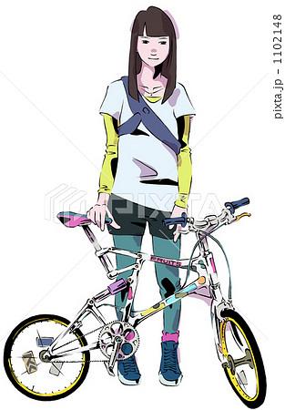 ... 自転車 女性のイラスト