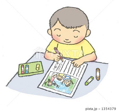 絵日記を書く子供 1354379  絵日記を書く子供 画質確認   絵日記を書く子供のイラスト素