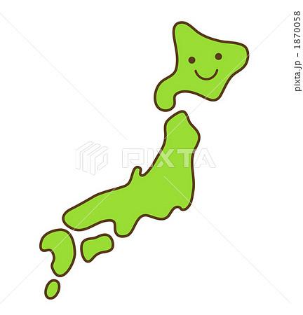 笑顔の日本列島 1870058  笑顔の日本列島 画質確認   笑顔の日本列島のイラスト素材 [