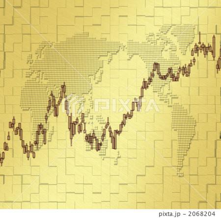 株価チャート/世界地図 2068204 株価チャート/世界地図のイラスト素材 [2068204]