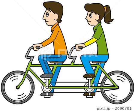 イラスト素材: 2人乗り自転車