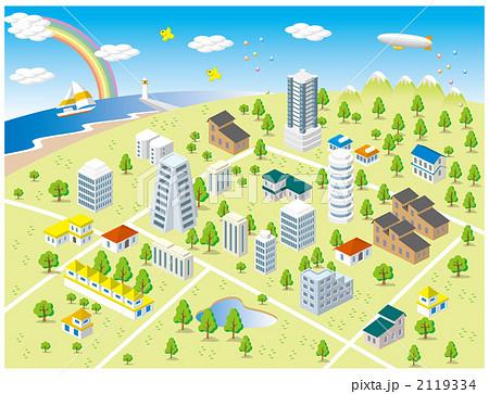 明るい郊外の町 2119334  明るい郊外の町 画質確認    明るい郊外の町のイラスト素材
