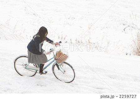 自転車の 自転車の写真 : 写真素材:自転車 通学 女子 ...