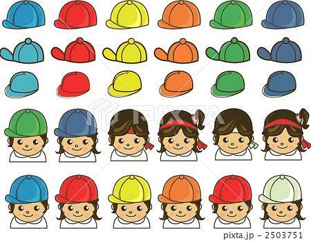 イラスト素材: 学年帽および紅白帽、ハチマキ