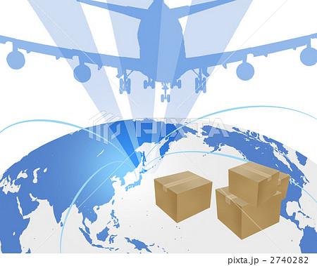 経済活動 東京湾を航行する二隻の貨物船 日本貿易 ビジネス 販売 世界地図 貿易_流通イラスト