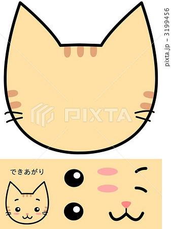 3199456 福笑い 猫 イラストのイラスト 画質確認    福笑い 猫 イラストのイラスト素