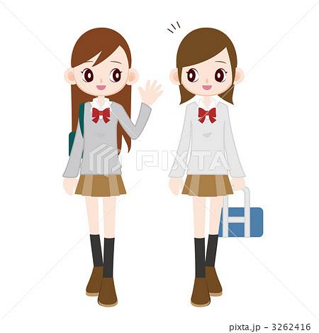 登校中の女子高生 3262416 登校中の女子高生 登校中の女子高生のイラスト素材 [32624