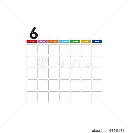 月別空白カレンダー(6月)の ...