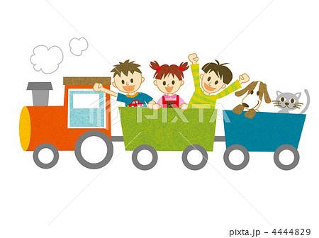 汽車に乗る子供たちと犬と猫 4444829 汽車に乗る子供たちと犬と猫のイラスト素材 [4444