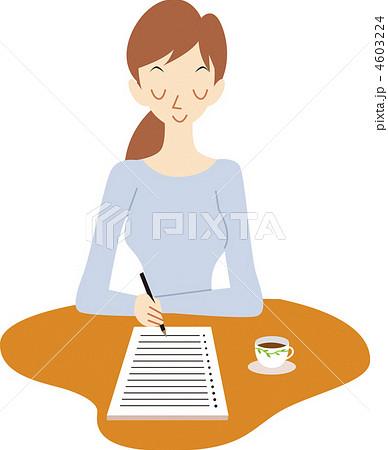 手紙を書く女性 4603224  手紙を書く女性 画質確認   手紙を書く女性のイラスト素材 [