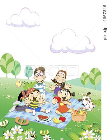 家庭 夫妇 野餐-插图图库