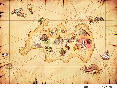 子供 日本地図 子供向け : 古い宝島の地図 冒険入り 4875981