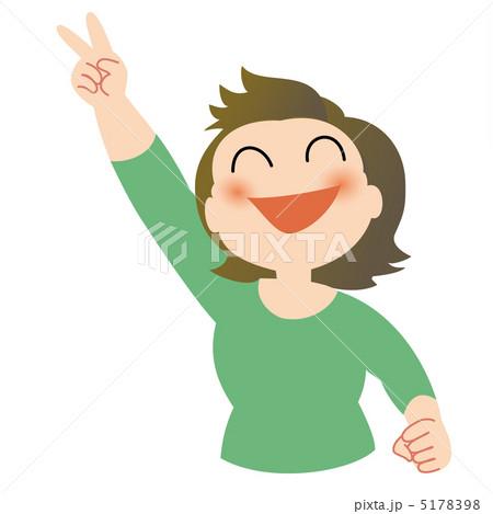 満面笑顔でVサインする女性 5178398 満面笑顔でVサインする女性 満面笑顔でVサインする女
