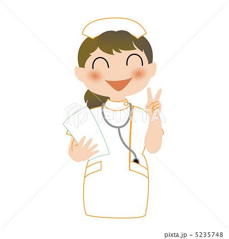 笑顔でVサインする看護師 5235748  笑顔でVサインする看護師  サムネイル表示に戻す