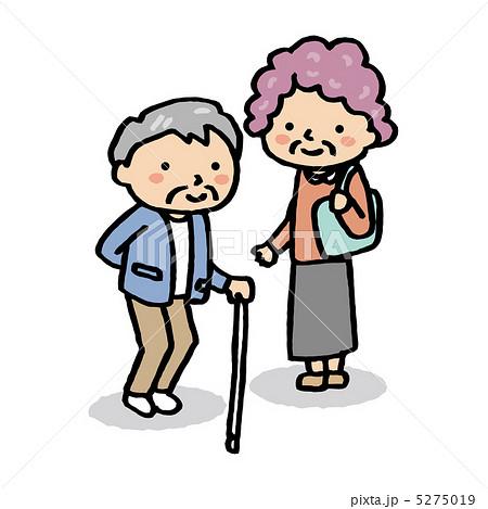 イラスト素材: 老人との会話
