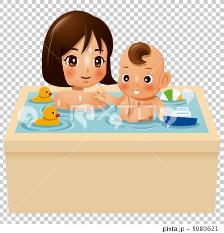 新生儿 首页 插图 人物 儿童 婴儿 洗澡 浴室 新生儿  *pixta限定素材