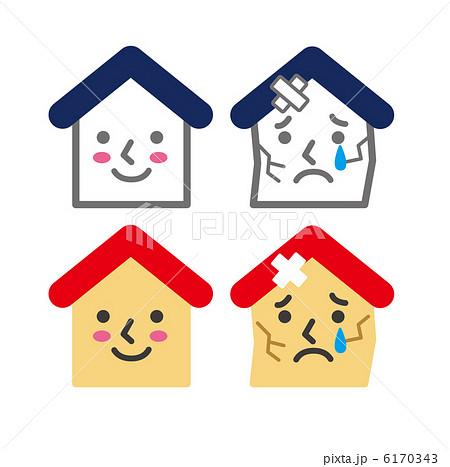 壊れた家と健康な家 6170343  壊れた家と健康な家  壊れた家と健康な家のイラスト素材 [