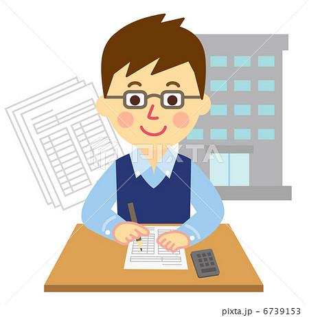 確定申告の書類を書く男性 6739153  確定申告の書類を書く男性 画質確認    確定申告の