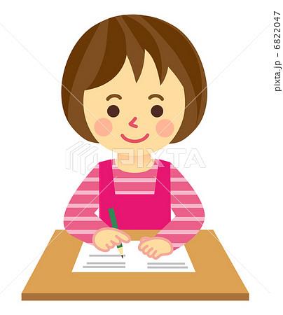 書きものする女性 書きものする女性 鉛筆ライン   書くのイラスト素材