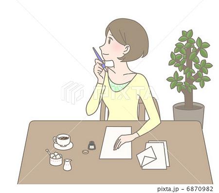 手紙を書く女性 6870982  手紙を書く女性   手紙を書く女性のイラスト素材 [68709