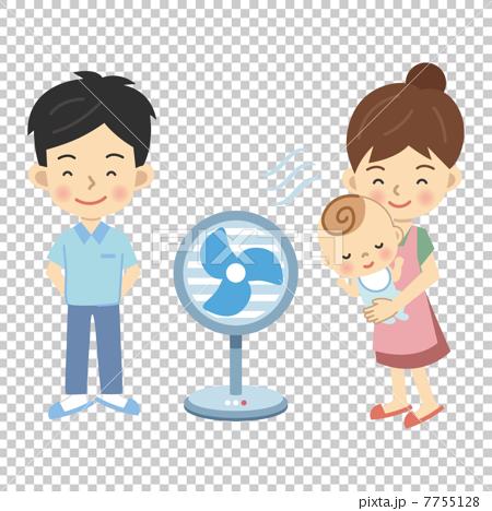 图库插图: 三口之家 口之家 扇子