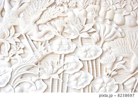 写真素材: レリーフ ストーンレリーフ バリ雑貨 アジアン雑貨 バリ石像 アジアンインテリア アジアンエクステリア バリ風 バリストーンカービング ライムストーン  彫刻 砂岩 絵 花 蓮 蓮の花 鳥 石彫りレリ
