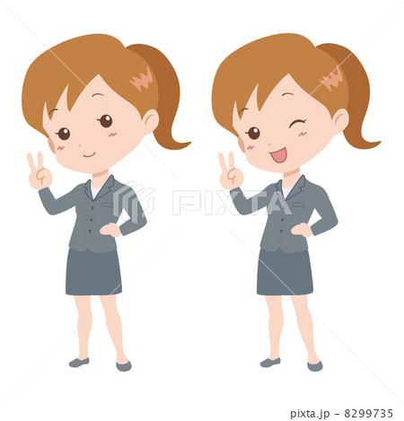 女性/Vサイン 8299735 女性/Vサイン 画質確認 女性/Vサインのイラスト素材 [829