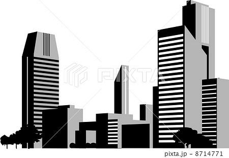 都会のビル群のシルエット 8714771 都会のビル群のシルエットのイラスト素材 [871477