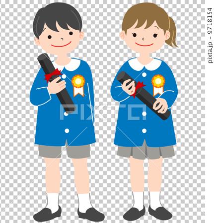 图库插图: 小孩 幼儿园毕业 矢量
