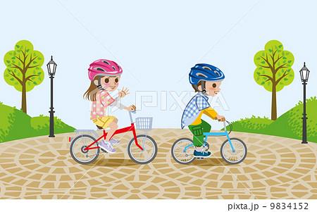 自転車/子供/公園/ヘルメットの ...