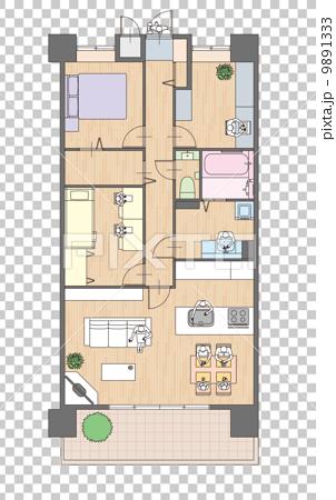 图库插图: 3ldk mansion的平面图和家具布置