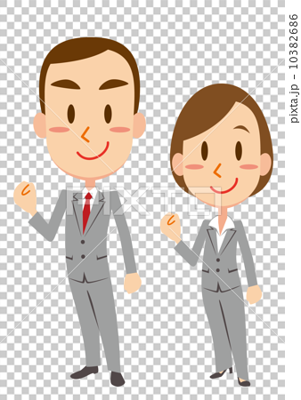 插图素材: 充满动力的商人·商界女强人
