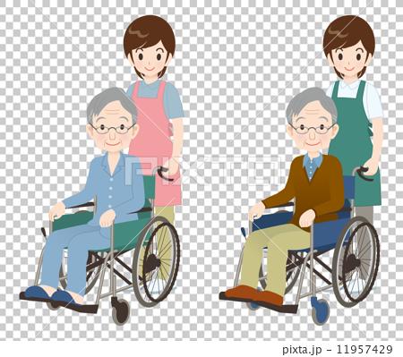 图库插图: 轮椅 护理 老人