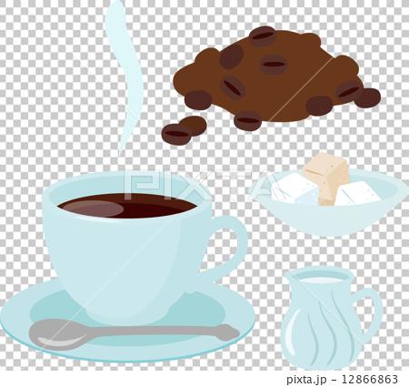 插图素材: 咖啡,牛奶和糖在一杯