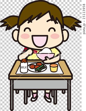 图库插图: 矢量 学校午餐 小学生