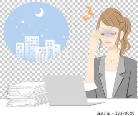 插图素材: 【女性生活方式1】加班加班