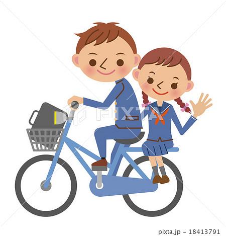 自転車に2人乗りする中学生