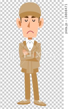 插图素材: 思考工作服的男人