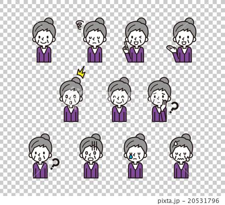 图库插图: 矢量 老人 面部表情