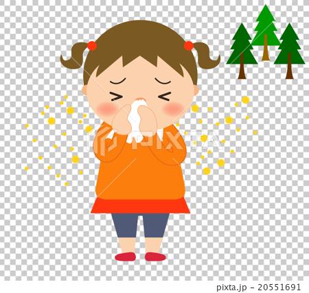 首页 插图 人物 女性 女孩 擤鼻涕 女孩 花粉过敏  *pixta限定素材仅