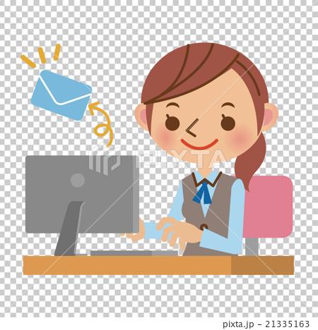 图库插图: ol的女人,由pc发送邮件的文职办公室
