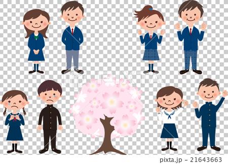图库插图: 樱花与各种制服的学生在毕业典礼上的各种表情图片