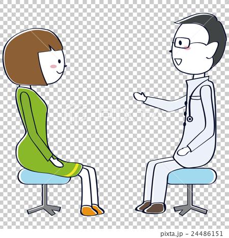 卡通男医生头像_图库插图: 接受男医生建议的患者