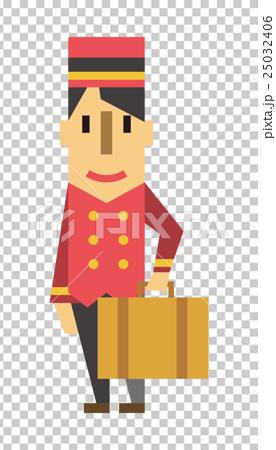 姿势_表情_动作 构图 全身 酒店人 行李搬运工 全身  *pixta限定素材