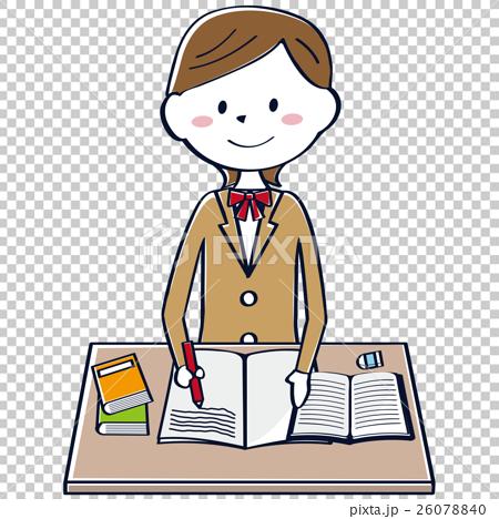 图库插图: 高中生 学习 女学生