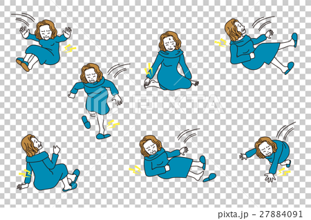 首页 插图 人物 男女 日本人 中老年人 老女人 跌倒  *pixta限定素材