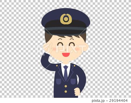 图库插图 警察 敬礼 男人