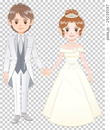 图库插图: 新郎新娘 婚礼 婚纱